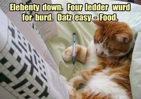 Elebenty  down.   Four  ledder   wurd  for  burd.   Datz  easy  -  Food.