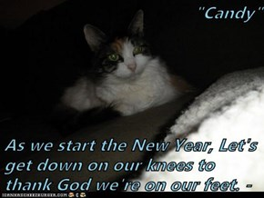 """Candy""  As we start the New Year, Let's get down on our knees to thank God we're on our feet. -"
