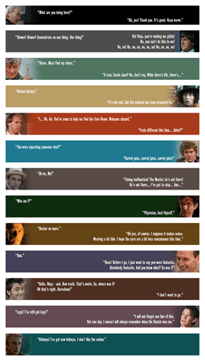 First and Last Lines of Each Doctor