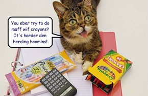 You eber try to do maff wif crayons?  It's harder den herding hoomins!