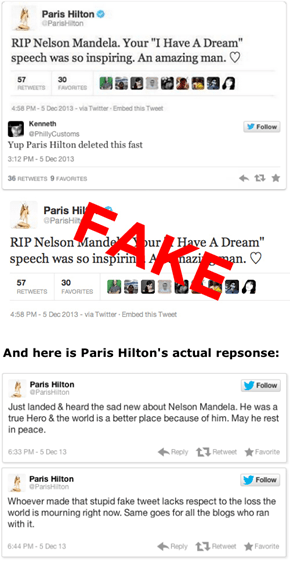 Paris Hilton's Fake Tweet About Nelson Mandela's Death
