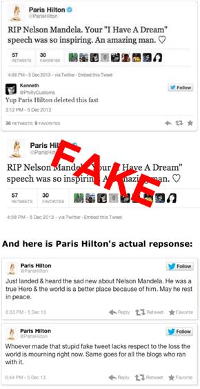 Paris Hilton's Fake Tweet About Nelson Mandela's Death