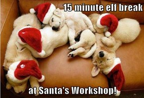 15 minute elf break  at Santa's Workshop!
