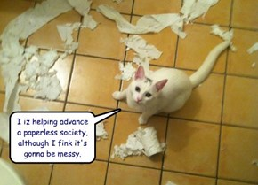 I iz helping advance a paperless society, although I fink it's gonna be messy.