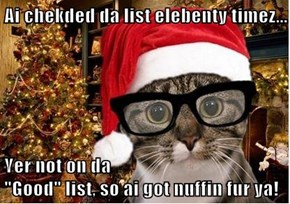 "Ai chekded da list elebenty timez...  Yer not on da                                                    ""Good"" list, so ai got nuffin fur ya!"