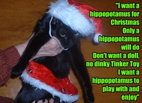 """I want a hippopotamus for Christmas Only a hippopotamus  will do Don't want a doll, no dinky Tinker Toy I want a hippopotamus to play with and enjoy"""