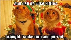 And den da wise kitties  brought frankennip and purred...