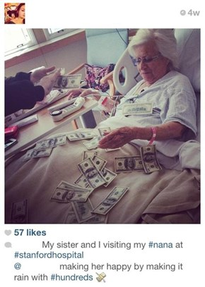 Kids Trying to Cheer Up Grandma by Making It Rain