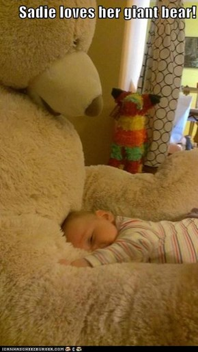 Sadie loves her giant bear!