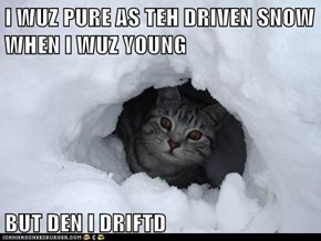 I WUZ PURE AS TEH DRIVEN SNOW WHEN I WUZ YOUNG  BUT DEN I DRIFTD