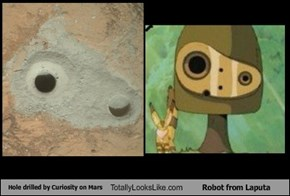 Hole Drilled by Curiosity on Mars Totally Looks Like Robot from Laputa