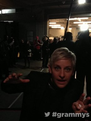 Ellen is Doing Some Serious Backstage Lurking
