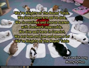 We're Knights of the Round Table, We dance when ere we're able,   We do routines and chorus scenes with footwork impeccable. We dine well here in Camelot,  We eat ham and jam and spam a lot We're Knights of the Round Table