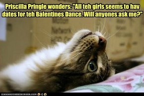 "Priscilla Pringle wonders: ""All teh girls seems to hav dates for teh Balentines Dance. Will anyones ask me?"""