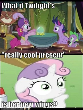 "What if Twilight's ""really cool present""                                                                      is her new wings?"