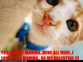 YOU ARE MY MAMMA..MINE ALL MINE..I LOVES YOU MAMMA.. BE MY VALENTINE !!!