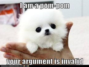 I am a pom-pom  your argument is invalid