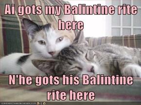 Ai gots my Balintine rite here  N'he gots his Balintine rite here