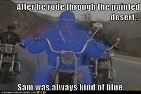After he rode through the painted desert...  Sam was always kind of blue.