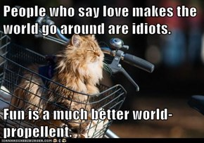 People who say love makes the world go around are idiots.  Fun is a much better world-propellent.