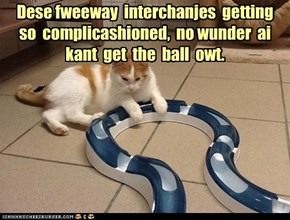 Dese fweeway  interchanjes  getting  so  complicashioned,  no wunder  ai  kant  get  the  ball  owt.