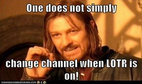 One does not simply  change channel when LOTR is on!