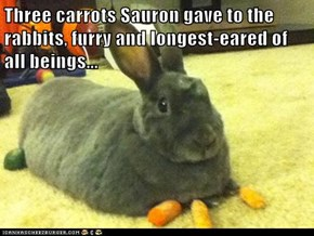 Three carrots Sauron gave to the rabbits, furry and longest-eared of all beings...