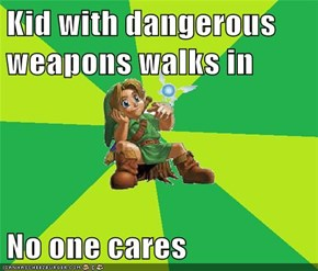 Kid with dangerous weapons walks in  No one cares