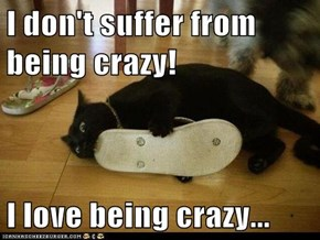 I don't suffer from being crazy!  I love being crazy...