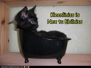 Kleenliniss is Nex tu Ebilniss