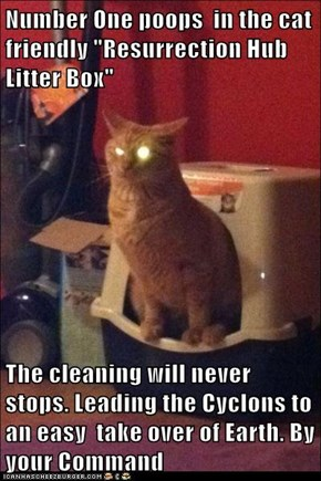 "Number One poops  in the cat friendly ""Resurrection Hub  Litter Box""   The cleaning will never stops. Leading the Cyclons to an easy  take over of Earth. By your Command"