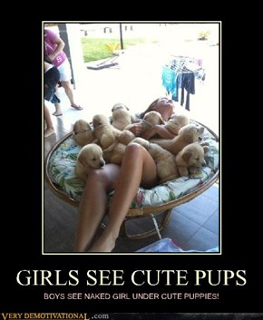 GIRLS SEE CUTE PUPS