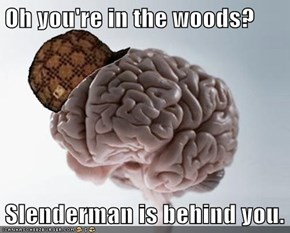 Oh you're in the woods?  Slenderman is behind you.