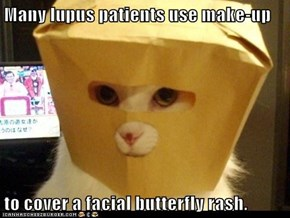 Many lupus patients use make-up  to cover a facial butterfly rash.