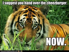 I suggest you hand over the cheezburger.