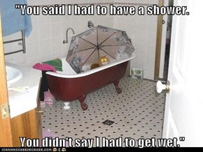 """""""You said I had to have a shower.  You didn't say I had to get wet."""""""