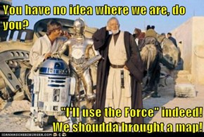"You have no idea where we are, do you?  ""I'll use the Force"" indeed!                      We shoudda brought a map!"