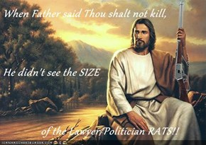 When Father said Thou shalt not kill, He didn't see the SIZE               of the Lawyer/Politician RATS!!