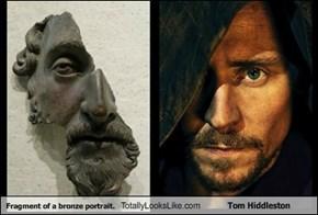 Fragment of a bronze portrait.  Totally Looks Like Tom Hiddleston