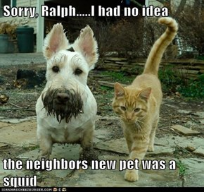Sorry, Ralph.....I had no idea  the neighbors new pet was a squid