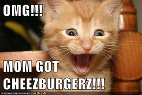 OMG!!!  MOM GOT CHEEZBURGERZ!!!