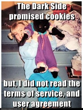 The Dark Side promised cookies  but, I did not read the terms of service, and user agreement