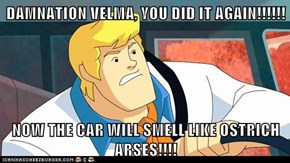 DAMNATION VELMA, YOU DID IT AGAIN!!!!!!  NOW THE CAR WILL SMELL LIKE OSTRICH ARSES!!!!