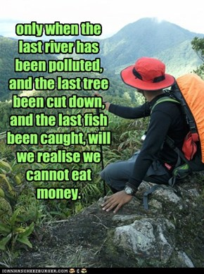 only when the last river has been polluted, and the last tree been cut down, and the last fish been caught, will we realise we cannot eat money.
