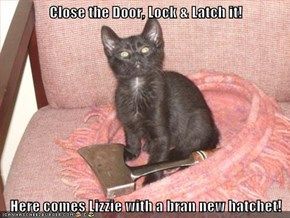Close the Door, Lock & Latch it!  Here comes Lizzie with a bran new hatchet!