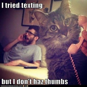 I tried texting  but I don't haz thumbs