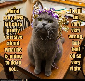 Moral grey area kitteh is pretty decisive about what he is going to do to you.