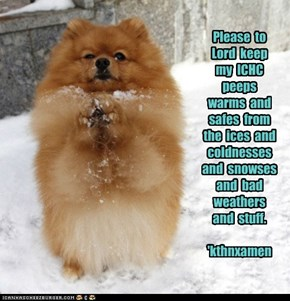 Please  to Lord  keep  my  ICHC  peeps  warms  and  safes  from  the  ices  and  coldnesses  and  snowses   and  bad  weathers  and  stuff.  'kthnxamen
