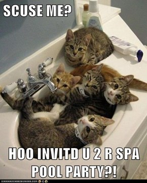 SCUSE ME?  HOO INVITD U 2 R SPA POOL PARTY?!
