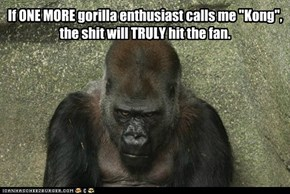 """If ONE MORE gorilla enthusiast calls me """"Kong"""""""